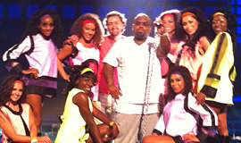 Lyndon on set with Cee-Lo Green, X-Factor Rehersals
